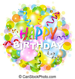 Happy Birthday Poster With Bokeh, Isolated On White...