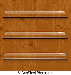 Wood Background With Glass Shelf