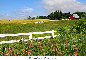 Farm scene - Scenic farm landscape with Barn