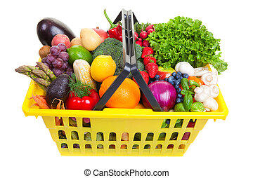 Fruit and vegetables basket - yellow shopping basket full of...