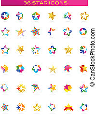 collection of star icons, vector - set of abstract, colorful...