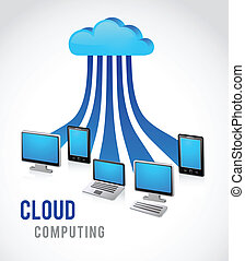 internet cloud, vector image - Cloud computing with leptop,...