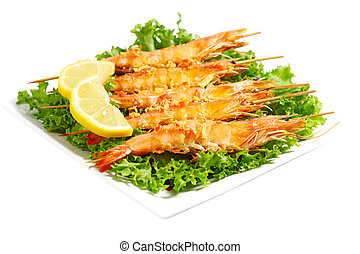 Grilled Shrimps - Grilled shrimps on chicory lettuce