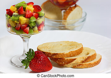 Bread with fresh kiwi, strawberry, pineapple