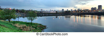 The city of Donetsk night, East Europe, Ukraine - Evening...