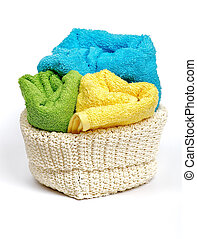 Multi-colored towels - Multi-colored Terry towels in wattled...