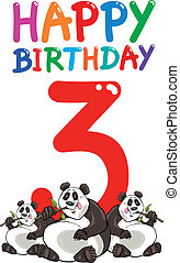 third birthday anniversary design - cartoon illustration...
