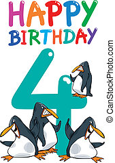 fourth birthday anniversary design - cartoon illustration...