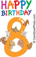 eighth birthday anniversary design - cartoon illustration...