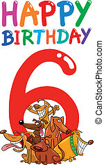 sixth birthday anniversary design - cartoon illustration...