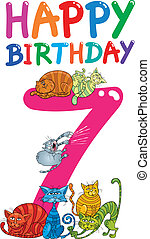 seventh birthday anniversary design - cartoon illustration...