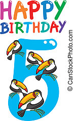fifth birthday anniversary design - cartoon illustration...