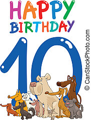eleventh birthday anniversary design - cartoon illustration...