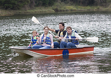 Happy Family Canoeing - Family Camping Vacation, Uncle,...