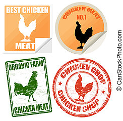 Set of chicken meat labels and stamps on white, vector...
