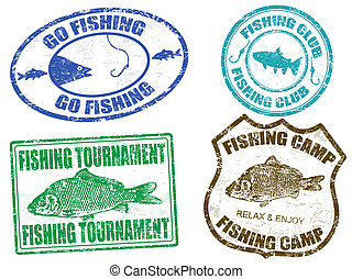 Set of fishing stamps on white background, vector...