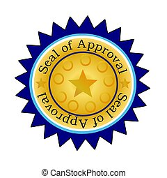 Seal of Approval wBlue Edging - Illustration of a golden...