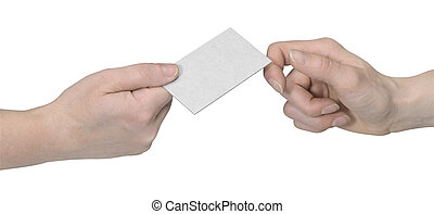 hands and busuness card handover - studio photography of two...