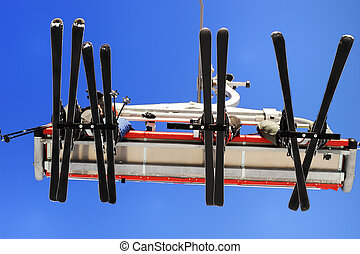 Skiers on the ski lift  - People on the ski lift
