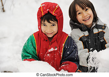 Two boys in snow