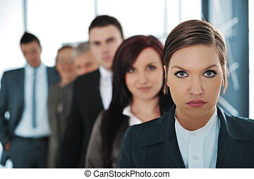 Business team of six people standing