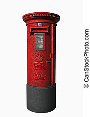 Royal Mail - a London letter box in 3d clipart
