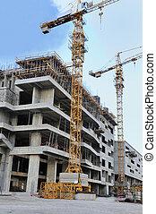 construcción, sitio, grúa, edificio