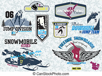 winter sport  - illustration for shirt printed and poster