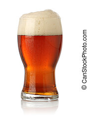 Cold glass of beer over white background