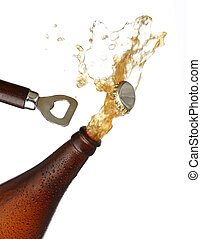 Opening a bottle of cold beer, splash image. White...