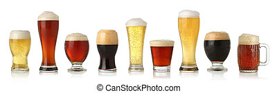 Various glasses of different beers, isolated on white