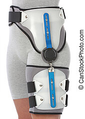 Woman with a hip splint, over white
