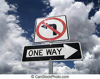 Traffic sign One Way no left turn