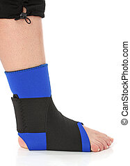 Foot with an ankle brace, over white
