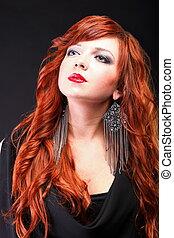 encantador, pelirrojo, -, joven, hermoso, rojo, Haired,...