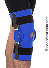Man wearing a leg brace, over white