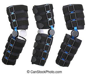 Leg brace over white. Orthopedic series