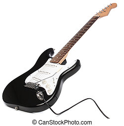 Electric guitar isolated on white. Beautiful instrument