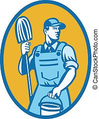 Cleaner Worker With Mop And Pail - Illustration of a cleaner...