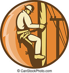 power lineman worker electrician climbing - Illustration of...