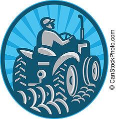 agricultor, arar, vindima, trator, visto, parte traseira,...