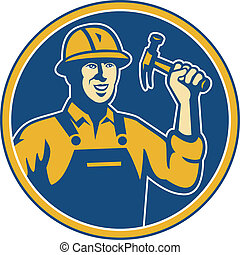 construction worker tradesman laborer hammer - Illustration...