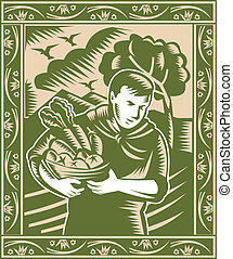 organic farmer with basket full fruits and vegetables done in retro woodcut style.