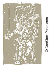 Mayan B Woodblock - Mayan warrior designed after...