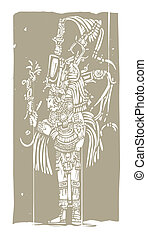 Mayan A Woodblock - Mayan warrior designed after...