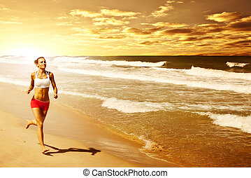 Healthy woman running on the beach, girl doing sport...