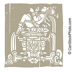 Reclining Mayan Woodblock