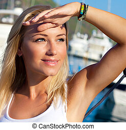 Beautiful teen girl sailing, young woman enjoying summer...