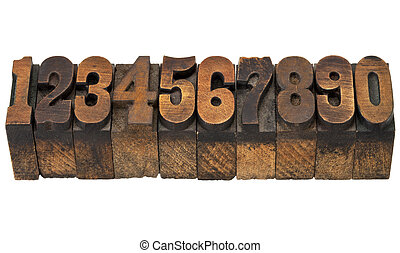 numbers in antique letterpress type - ten numbers from zero...