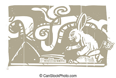 Mayan Rabbit Scribe Woodblock